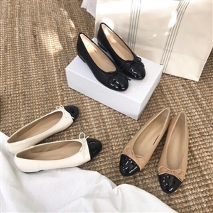 Two Tone Ballet Flat (Beige/Black/Ivory) (225~250) (will ship within 1~2 weeks)