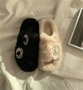 Jewel Fur Slippers (Black/Ivory) (S/M/L) (will ship within 1~2 weeks)