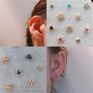 14K Gold Ear Piercing (Gems or Diamonds) (1~18) (will ship within 1~2 weeks)