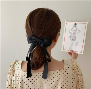 Ribbon Hair Pin (Beige/Black) (will ship within 1~2 weeks)