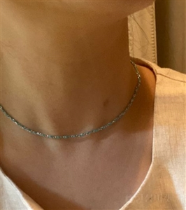 Silk and Silver 925 Chain Necklace (Black/Red/Blue/Skyblue) (will ship within 1~2 weeks later)