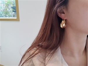 C Bold Earrings Silver 925 (Gold/Silver) (will ship within 1~2 weeks later)