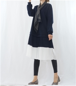 (Pre-Order) Navy Pleated Layered Dress (will ship within 1~2 weeks)