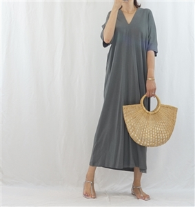 (Best; 3rd Reorder) Charcoal Both Side V Neck Stylish Dress (will ship within 1~2 weeks)