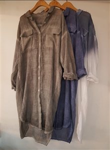 (Pre-Order) Washing Shirt Dress(Charcoal/Navy/Gradation) (will ship within 1~2 weeks)