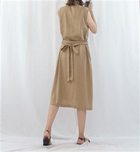 (Pre-Order) Beige Linen Dress (will ship within 1~2 weeks)