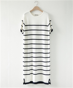 (Pre-Order) White Stripe Knit Dress (will ship within 1~2 weeks)
