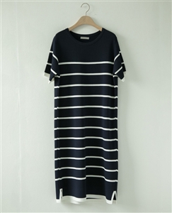 (Pre-Order) Navy Stripe Knit Dress (will ship within 1~2 weeks)