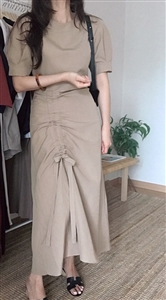 (Pre-Order) Beige String Linen Dress (will ship within 1~2 weeks)