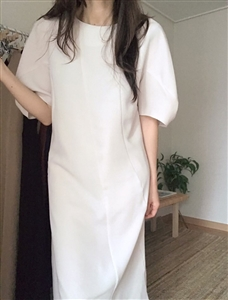 (Pre-Order) Ivory Puff Shoulder Dress (will ship within 1~2 weeks)