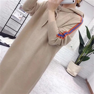 (~11/19) Hooded Knit Dress (Beige/Black) (will ship within 1~2 weeks)