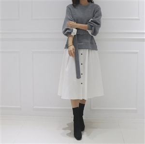 (~12/08) Shirt Layered Belt Knit Dress (Gray/Navy) (will ship within 1~2 weeks)