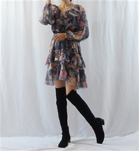 (Best; Back-Order) Zimmer Wave Off Shoulder Dress (Paisely/Gray Flower) (will ship within 1~2 weeks)