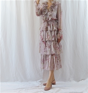 (~02/15) Zimmer Tiered Dress (S/M) (Pink/Blue) (will ship within 1~2 weeks)