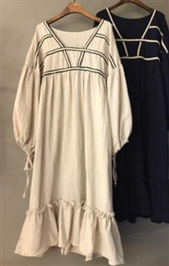 Rope Line Dress (Beige/Navy) (will ship within 1~2 weeks)