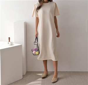 Pintuck Sleeve Dress (Cream/Khaki/Black) (will ship within 1~2 weeks)
