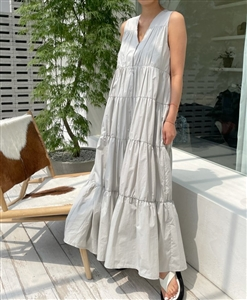 Tiered Dress (Gray/Navy/Brown) (will ship within 1~2 weeks)