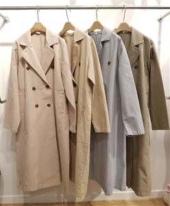 (Pre-Order) Clean Cotton Trench Jacket (Pink/Beige/SkyBlue/Khaki) (will ship within 1~2 weeks)
