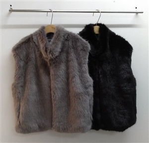 (~11/02) Faux Fur VEST (Black/Gray) (will ship within 1~2 weeks)