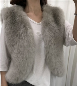 (~12/08) Eco Fur Short Vest (Black/Gray) (will ship within 1~2 weeks)