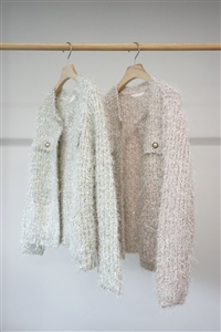 Pearl Button Shiny Cardigan (Silver/Pink) (will ship within 1~2 weeks)