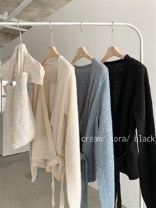 Soft Alpaca Wool Wrap Cardigan (Cream/SkyBlue/Black) (will ship within 1~2 weeks)