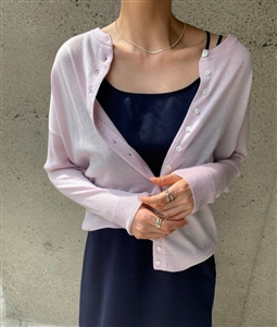 Silk wool O-neck button cardigan (Ivory/LavenderPink/Gray/Black) (will ship within 1~2 weeks)