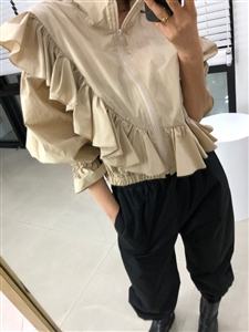 Frill Jumper (Beige/Black) (will ship within 1~2 weeks)
