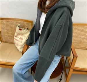 Knit Hoodie (Beige/Khaki/Navy)(will ship within 1~2 weeks)