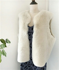 Fur Vest (Gray/Ivory) (will ship within 1~2 weeks)