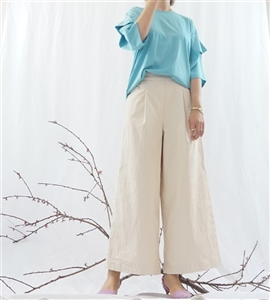 (Best; Back-Order; 2nd Reorder) Ivory Clean Cotton Wide Pants (will ship within 1~2 weeks)