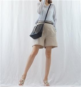 (Best; Back-Order; 3rd Reorder) Beige Belt Linen Short Pants (S/M) (will ship within 1~2 weeks)