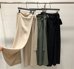 (Pre-Order) Wrap Skirt Pants (Beige/Khaki/Black) (will ship within 1~2 weeks)