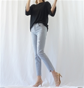 (Must-Have; Pre-Order) Ice Gray Straight Jeans (S/M/L) (will ship within 1~2 weeks)