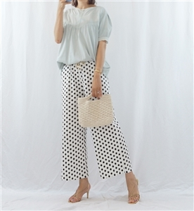 (Pre-Order) White Dot Pants (will ship within 1~2 weeks)