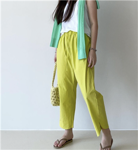 Lime Cotton Pants (will ship within 1~2 weeks)