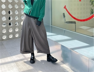 Gray Wide Wrap Pants (will ship within 1~2 weeks)