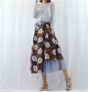 (Best; Back-Order; 2nd Reorder) Brown Luxury Print Skirt (will ship within 1~2 weeks)