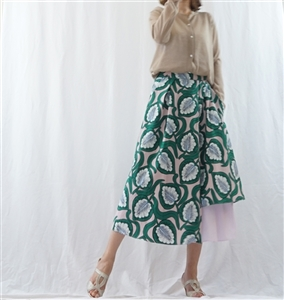 (Best; Back-Order; 2nd Reorder) Green Luxury Print Skirt (will ship within 1~2 weeks)