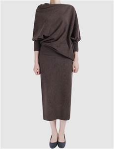 (~9/19) Cashmere Line Knit Skirt (Black/Brown/Gray) (will ship within 1~2 weeks)
