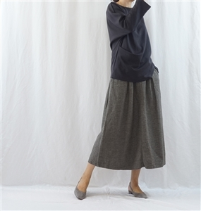 (Pre-Order) Double Cotton Skirt (GrayBeige/CharcoalBrown) (will ship within 1~2 weeks)