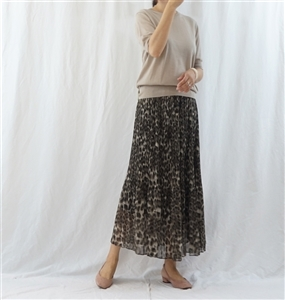 (Best; Back-Order; 2nd Reorder) Charcoal Brown Pleated Leopard Skirt (will ship within 1~2 weeks)