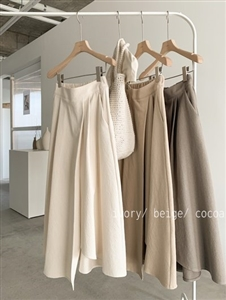 Cotton 100 Banding Skirt (Beige/Cocoa/Ivory) (will ship within 1~2 weeks)