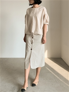 Linen Button Skirt (S/M) (Oatmeal/Khaki/Black) (will ship within 1~2 weeks)