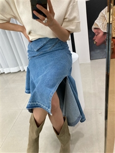 Unbalanced Jean Skirt (S/M/L) (will ship within 1~2 weeks)