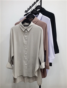 (Pre-Order) Fine Tencel 100% Blouse (Beige/Lavender/IndiPink/Black) (will ship within 1~2 weeks)