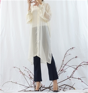 (Best; 2nd Reorder) Ivory Dot Long Blouse