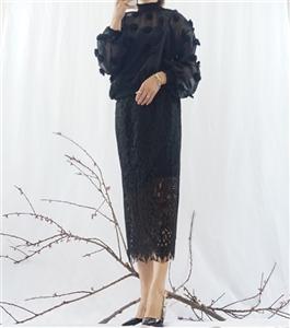 (Best; 2nd Reorder) Black Snow Flower Blouse (Including Innerwear)