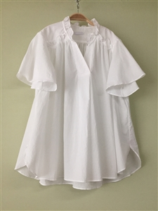 (Pre-Order) White Cotton Frill Blouse (will ship within 1~2 weeks)