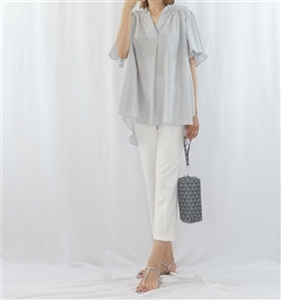 (Pre-Order) Gray Cotton Frill Blouse (will ship within 1~2 weeks)